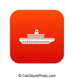 Passenger ship icon digital red for any design isolated on...