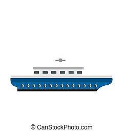 Passenger ship icon, flat style - Passenger ship icon...