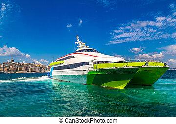 Passenger ship in Istanbul - Passenger ship and Galata Tower...