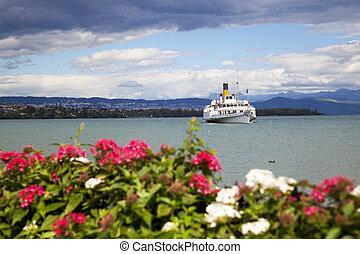 Passenger ship in Lake Geneva, Switzerland