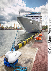 passenger ship in port - The passenger ship in port