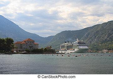 Passenger ship in the Bay of Kotor, Perast, Montenegro