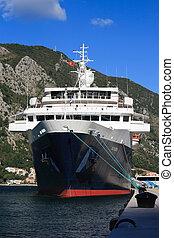 "ship ""Minerva"" in the port of Kotor, Montenegro,"