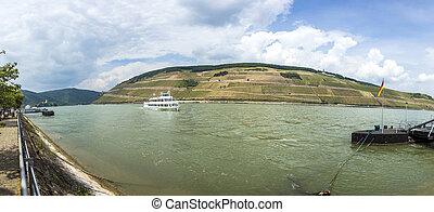 passenger ship on river Rhine in Bingen