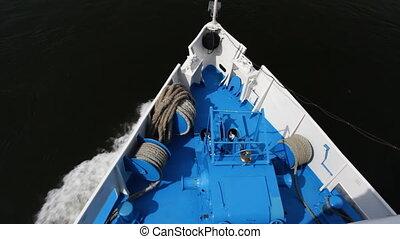 Passenger ship on river. - Ship floats.