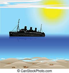 Passenger ship on the ocean