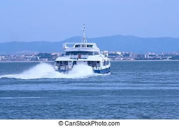 passenger ship - Big passenger ship leaving harbor