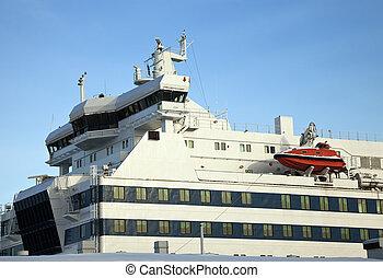 Passenger ship - detail. Seen in the harbor in Helsinki,...