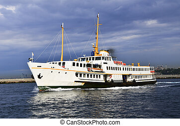 Passenger Ship - Old style passenger ship was sailing in...