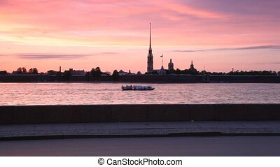 Passenger ship sails along Neva by Peter and Paul Fortress -...