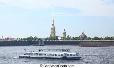 Passenger ship sails along Neva River