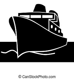 Passenger ship. Vector icon. Titanic