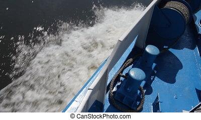 Passenger ship. - Waves following behind a ship.