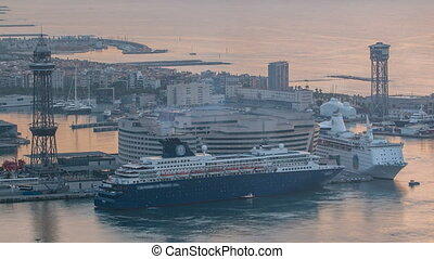 passenger ships and a powerboat timelapse in port of Barcelona, Spain