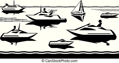Passenger ships and yachts in the sea