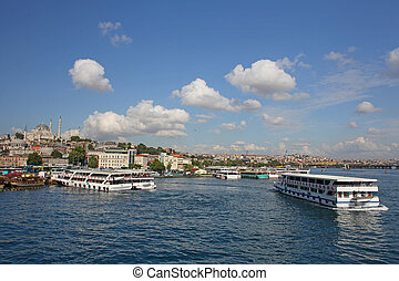 Passenger ships in the Gulf of the Golden Horn in Istanbul, Turkey