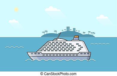 Passenger ships. Sea transportation liner. Ocean luxury yacht.