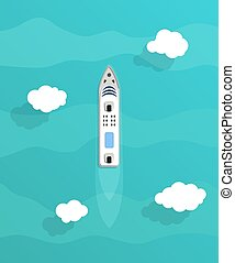 Passenger ships. Sea transportation liners. Yachts set.
