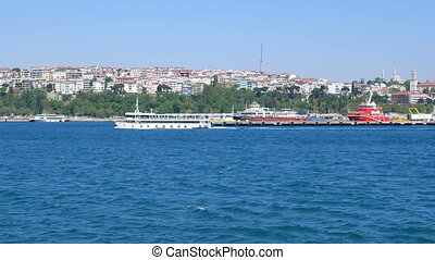Passenger steamer sea - Passenger steamer sails along the...