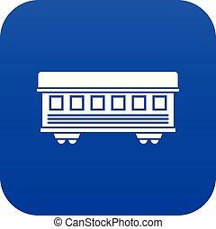 Passenger train car icon digital blue