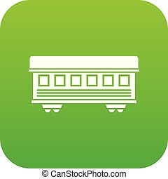 Passenger train car icon digital green
