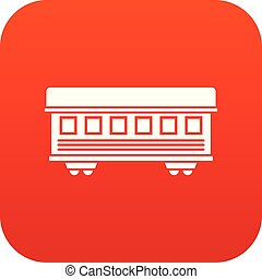 Passenger train car icon digital red