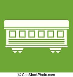 Passenger train car icon green