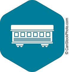 Passenger train car icon, simple style