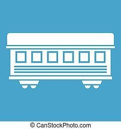 Passenger train car icon white