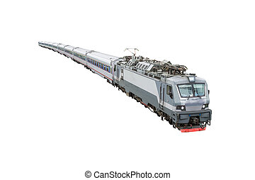 Passenger train composition with electro locomotive isolated on white background.