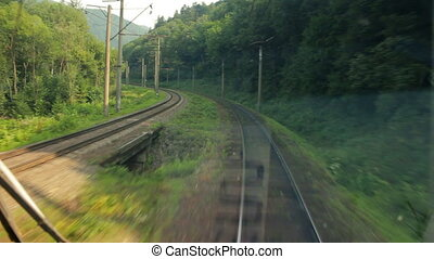 Passenger train goes to Carpathians (view from the machinist...