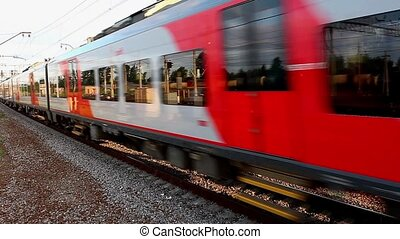 passenger train - HD1080: Motion train side view. Tripod....