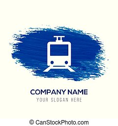 Passenger train icon - Blue watercolor background