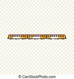 Passenger train icon, cartoon style