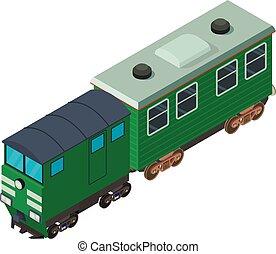 Passenger train icon, isometric style