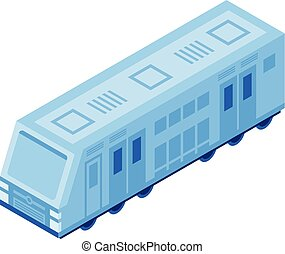 Passenger train icon, isometric style