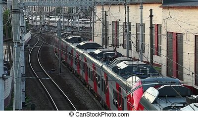Passenger train in the web of elect - cobweb electrical...