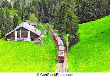 Passenger train moves from Chur to Arosa. Swiss Alps.