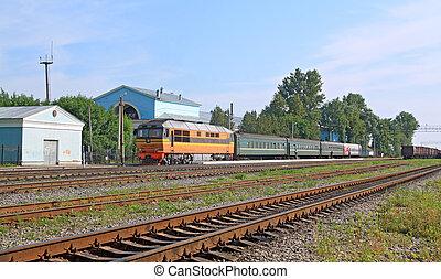 passenger train on railway station