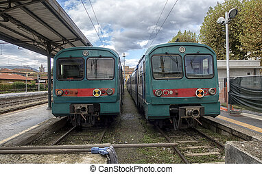 Passenger train on the railway. Railway transport.