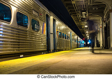 Passenger train on train station