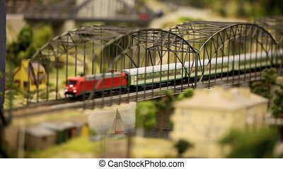 Passenger Train - Passenger train driving on the bridge