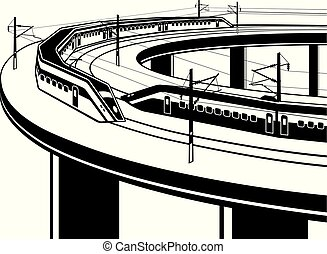 Passenger trains cross the bridge - vector illustration