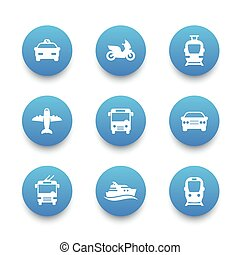 Passenger transport icons set, bus, subway, tram, train, taxi, car, airplane, cab, ship, public transportation signs