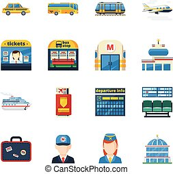 Passenger Transportation Flat Icons