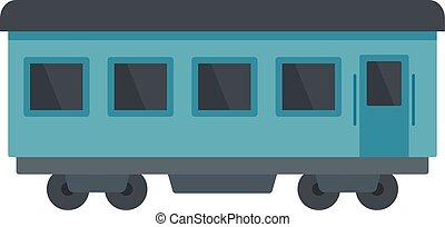 Passenger wagon icon, flat style