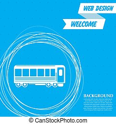 Passenger Wagons. Train icon on a blue background with abstract circles around and place for your text. Vector