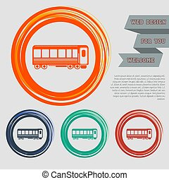Passenger Wagons. Train icon on the red, blue, green, orange buttons for your website and design with space text. Vector