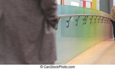 Walking in the Triennale museum in Milan, Italy