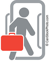 Passenger with luggage moving forward